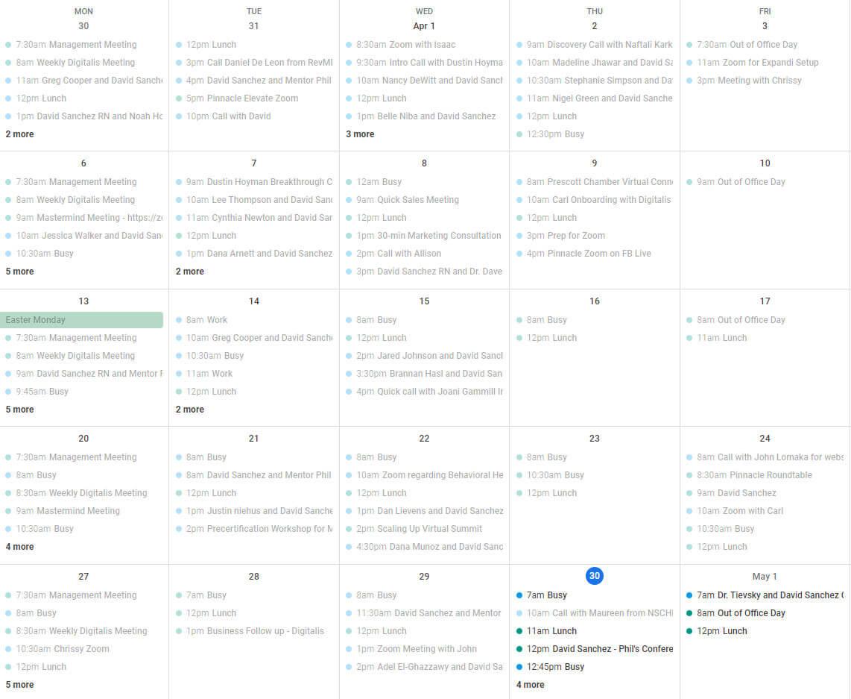 David LinkedIn Leads Schedule Full